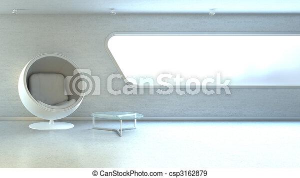 copyspace, mur, fauteuil, moderne, interrior, fenêtre, blanc - csp3162879