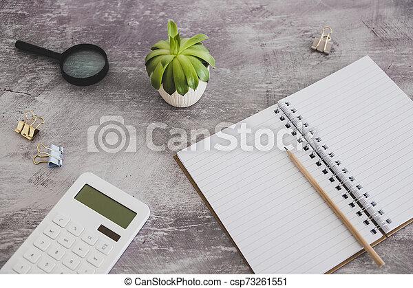copyspace, objets, bureau, mélangé, cahier, vide, papeterie - csp73261551