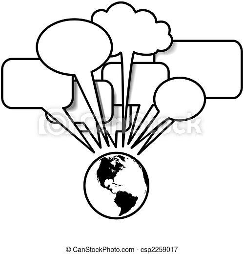 La Tierra habla de los blogs en el espacio de burbujas - csp2259017