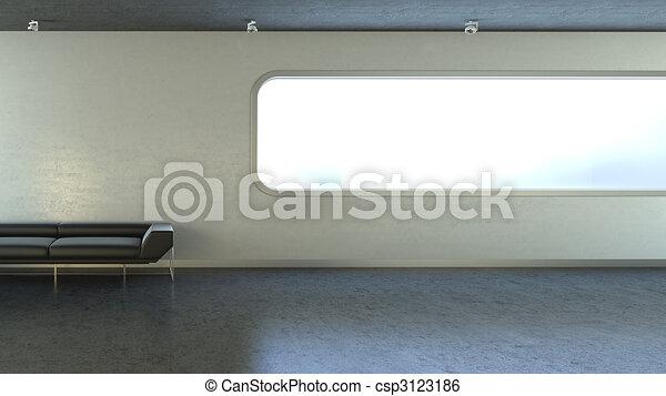 Sofa negra en el espacio de la ventana de la pared - csp3123186