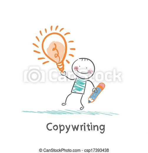 Copywriter holding a pencil and an idea - csp17393438