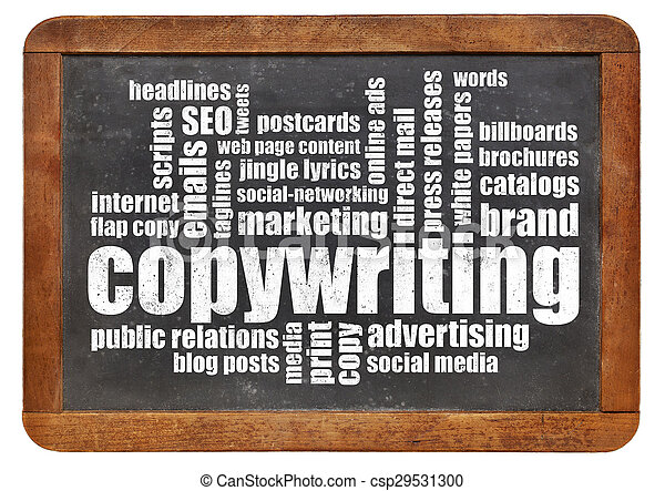 copywriting word cloud on blackboard - csp29531300