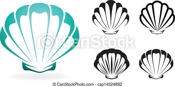 coquille, silhouette, -, collection, vecteur, illustration - csp14324892