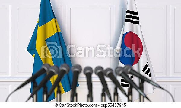 coréia, fazendo, suécia, bandeiras, internacional, conference., reunião, ou, 3d - csp55487945