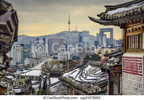 coréia, seul, skyline, histórico, distric, sul - csp21676003