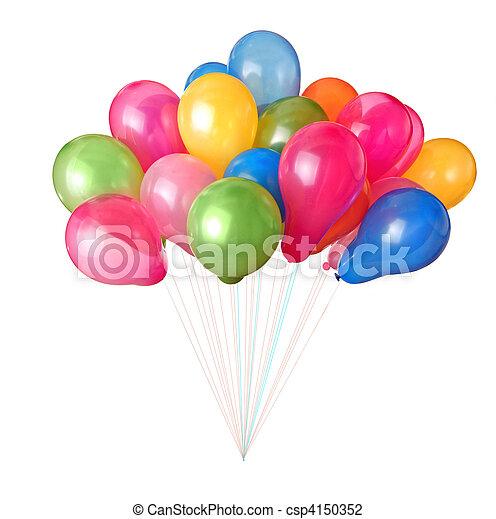 cor, branca, balões, isolado - csp4150352