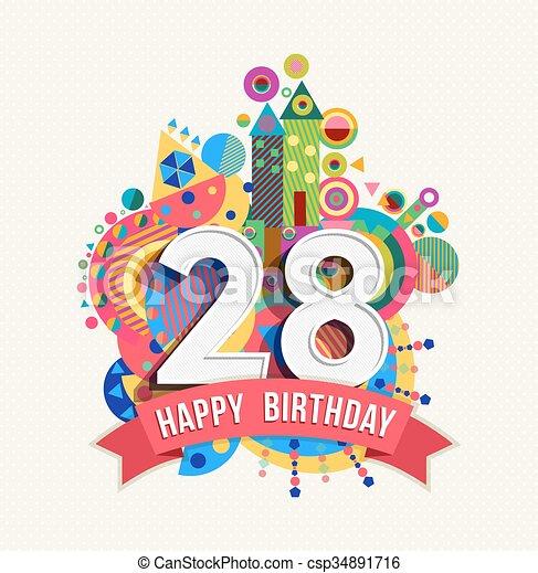 cor, cartaz, 28, saudação, aniversário, ano, cartão, feliz -