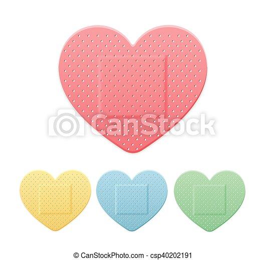 cor coração, gesso, remendo, faixa, vetorial, faixa, ajuda, médico, set. - csp40202191