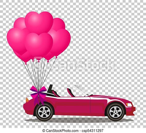cor-de-rosa, aberta, cabriolé, car, modernos, rosa, balões, caricatura, grupo - csp54311297
