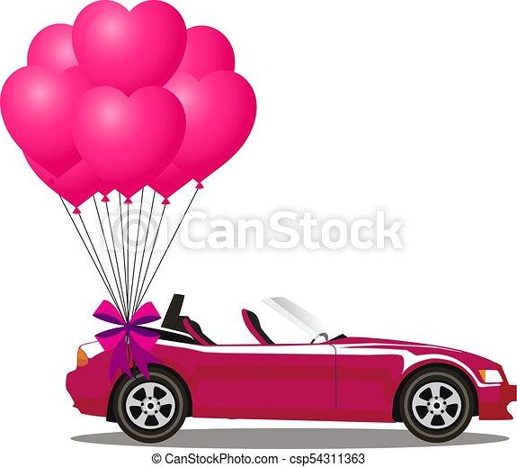 cor-de-rosa, aberta, cabriolé, car, modernos, rosa, balões, caricatura, grupo - csp54311363