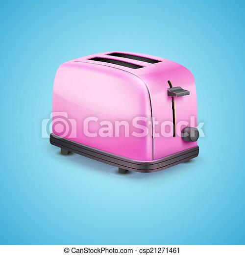 cor-de-rosa, azul, toaster., luminoso, vetorial, fundo - csp21271461