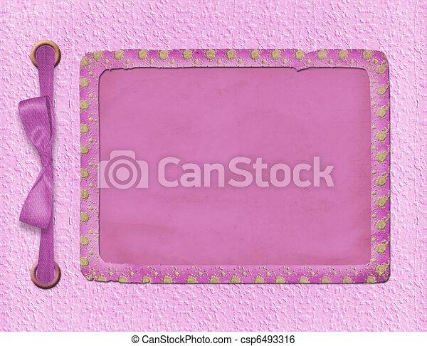 cor-de-rosa, bonito, estrutura, foto, invitations., experiência., bow., ou - csp6493316