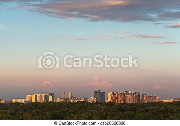 39afa4aea478a Cor-de-rosa, cidade, sobre, pôr do sol. Cor-de-rosa, cidade, noite ...