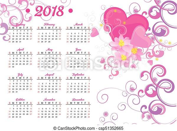 Cor-de-rosa, coração, decoração, 2018, ano, calendário ...