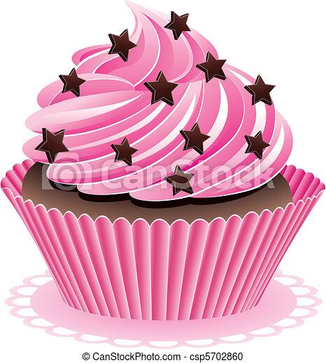 cor de rosa cupcake vetorial chuviscos chocolate