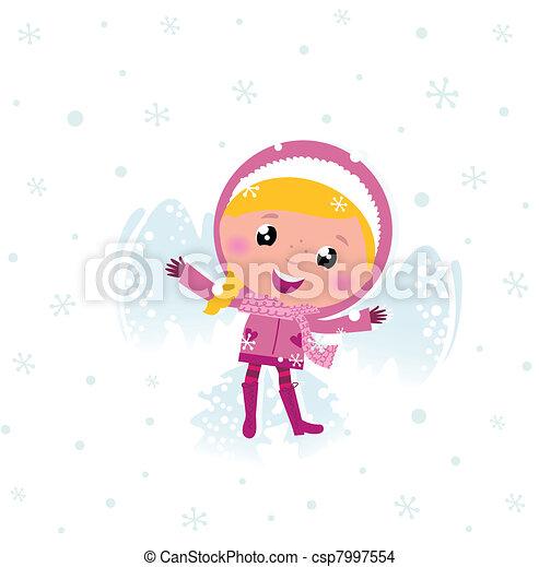 cor-de-rosa, cute, anjinho, neve, criança, fazer - csp7997554