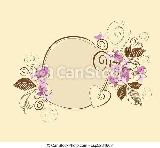 cor-de-rosa, cute, quadro, floral, marrom - csp5284663