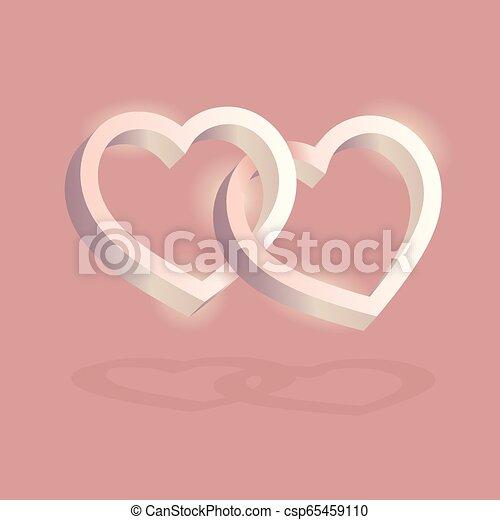 cor-de-rosa, entrelaçado, tridimensional, valentine, volume., dois, day., experiência., vetorial, corações, óptico, 3d, ilusão, illustration. - csp65459110