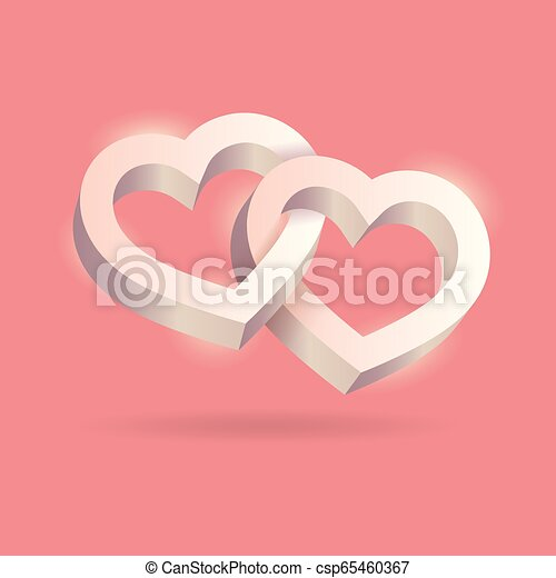 cor-de-rosa, entrelaçado, tridimensional, valentine, volume., dois, day., experiência., vetorial, corações, óptico, 3d, ilusão, illustration. - csp65460367