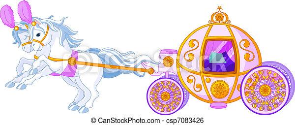 cor-de-rosa, fairytale, carruagem - csp7083426
