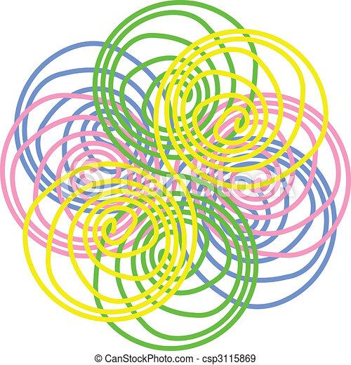 cor-de-rosa, flor azul, abstratos, vetorial, amarela, verde - csp3115869