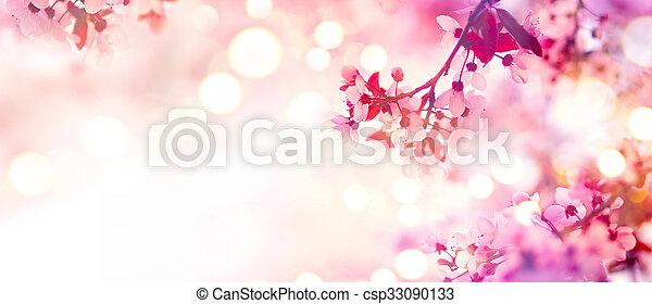 cor-de-rosa, flor, primavera, árvore, florescer, borda - csp33090133