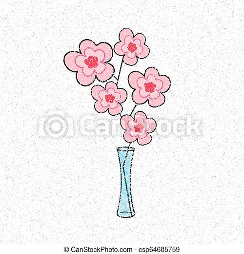 cor-de-rosa, flover, ilustração - csp64685759