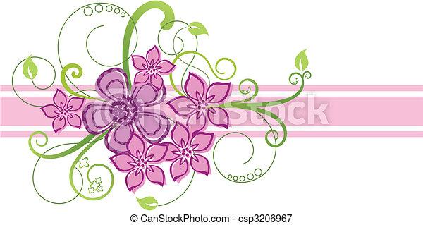 cor-de-rosa, fronteira floral, desenho - csp3206967