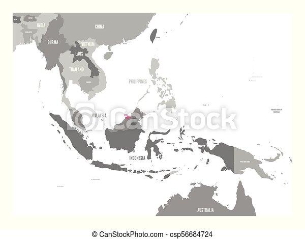 cor-de-rosa, mapa, região, ásia, destacado, sudeste, laos., vetorial - csp56684724
