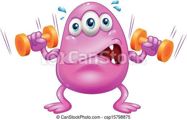 cor-de-rosa, monstro, gorda, exercitar - csp15798875