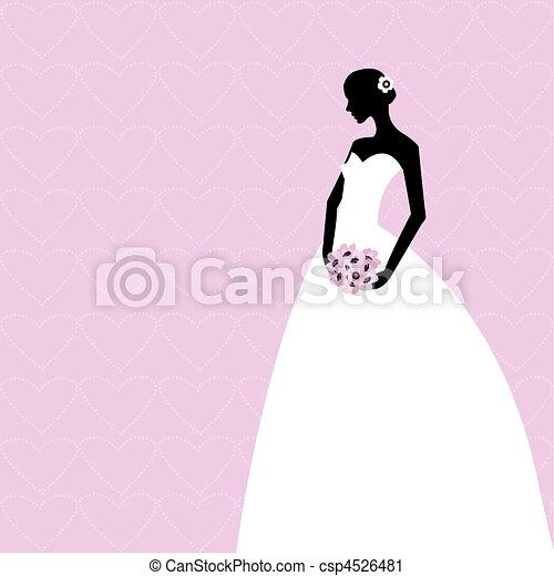 cor-de-rosa, noiva, cartão - csp4526481
