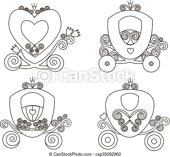 cor-de-rosa, vindima, fairytale, carruagem, real, silueta, princesa, vetorial, fundo, online, branca, loja, menina, logotipo, ícone - csp35092960