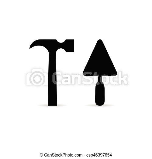 cor, ferramenta, pretas, ilustração, ícone - csp46397654