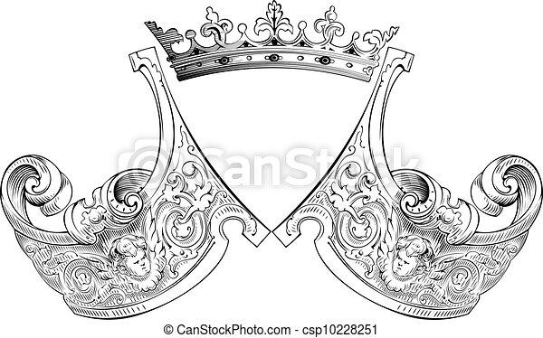 cor, heráldica, coroa, composição, um - csp10228251