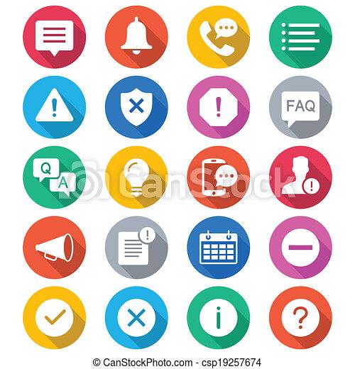 cor, informação, notificação, apartamento, ícones - csp19257674