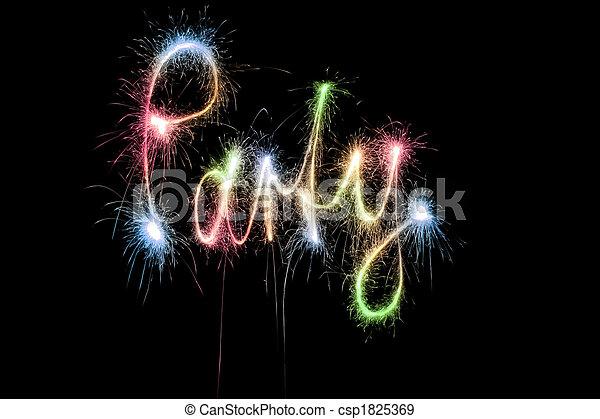 cor, partido, palavra, sparkler - csp1825369