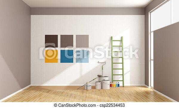 cor, pintura, swatch, parede, selecione - csp22534453