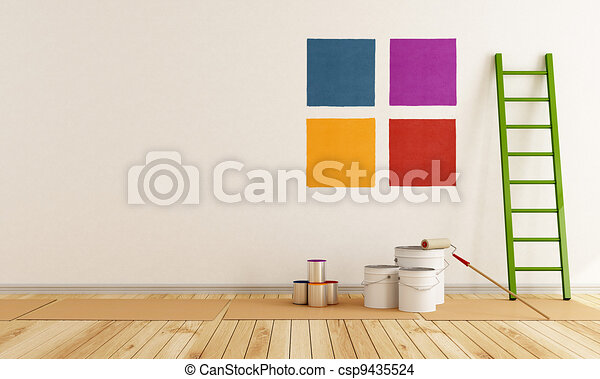 cor, pintura, swatch, parede, selecione - csp9435524