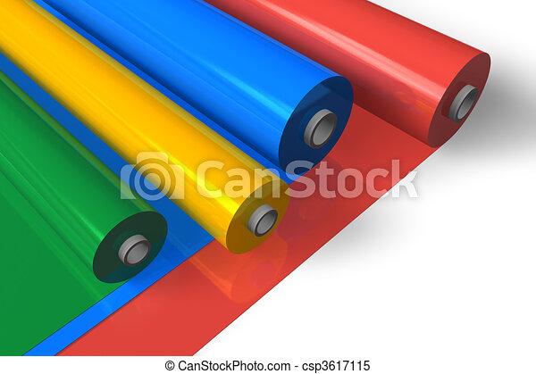 cor, rolos, plástico - csp3617115