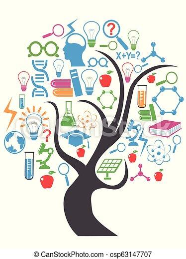 cor, tecnologia, educação, árvore - csp63147707
