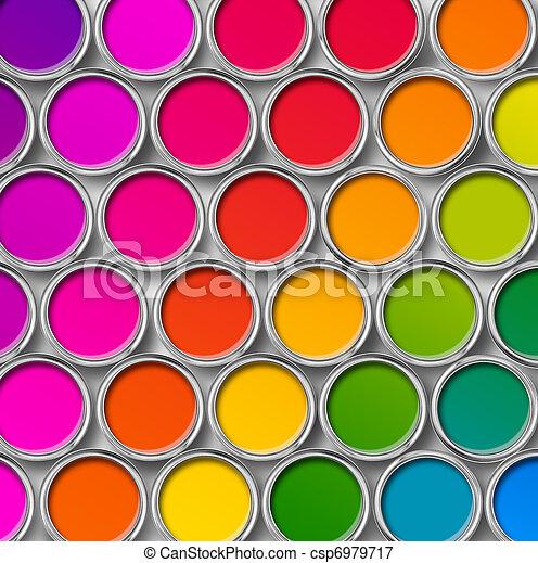 cor, topo, lata pintura, latas, vista - csp6979717