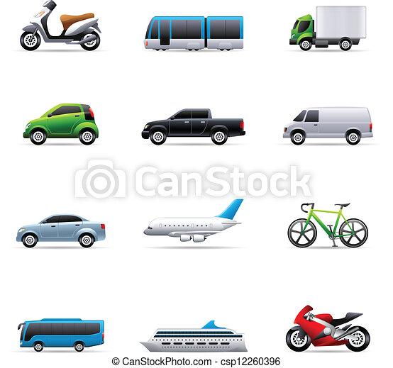cor, -, transporte, ícones - csp12260396