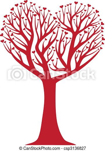 coração, árvore - csp3136827