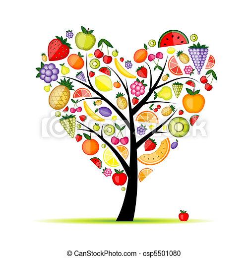 coração, árvore, seu, fruta, desenho, energia, forma - csp5501080
