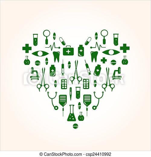 coração, ícones, médico, forma, desenho, seu - csp24410992