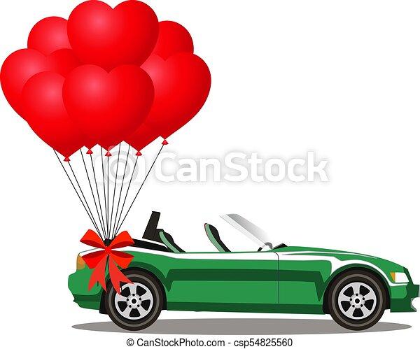coração, aberta, cabriolé, car, verde, balões, caricatura - csp54825560
