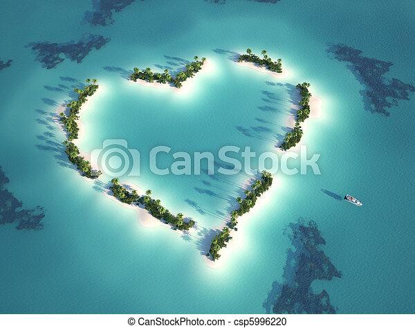 coração amoldou, ilha - csp5996220