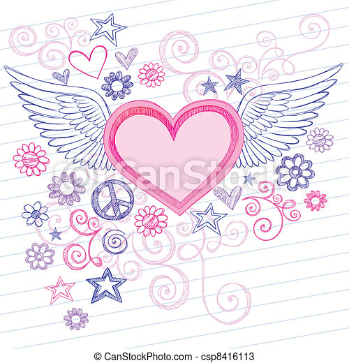coração, asas, anjo, doodles - csp8416113