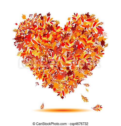 coração, autumn!, folhas, forma, amor, queda - csp4676732