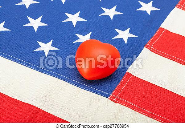 coração, brinquedo, tiro, eua, sobre, -, aquilo, bandeira, estúdio - csp27768954